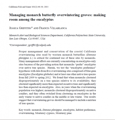 Managing monarch butterfly overwintering groves: making room among the eucalyptus