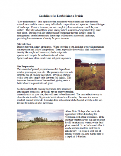 Guidelines for Establishing a Prairie