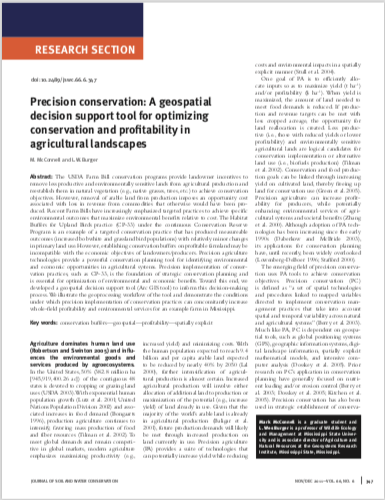 Precision Conservation: A geospatial decision support tool for optimizing conservation and profitability in agricultural landscapes