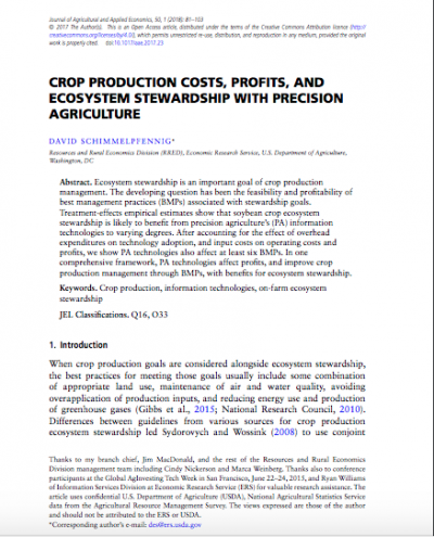 CROP PRODUCTION COSTS, PROFITS, AND ECOSYSTEM STEWARDSHIP WITH PRECISION AGRICULTURE