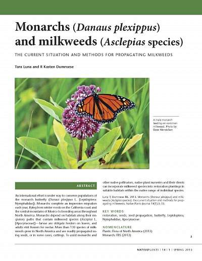 Monarchs and Milkweeds: The Current Situation and Methods for Propogating Milkweeds